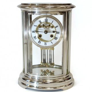 Silver-plated Oval Four Glass clock