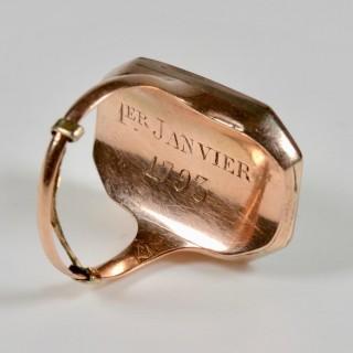 Louis XVI Gold and Enamel Portrait Ring 1793