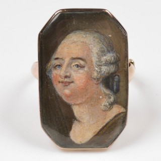 Louis XVI Gold and Enamel Portrait Ring 1793