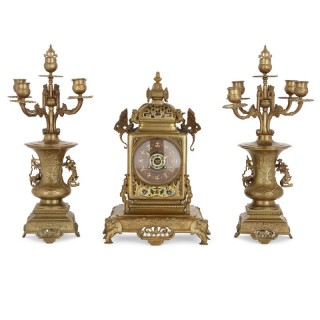 Japanese style gilt bronze and enamel clock set