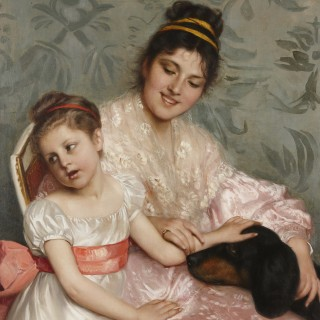 Oil on canvas painting of mother, child and dog by Costa