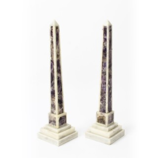 Antique Pair Grand Tour Convent Siena & Amethyst Marble Obelisks C.1890