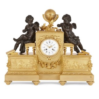 Napoleon III period gilt and patinated bronze clock by Delafontaine