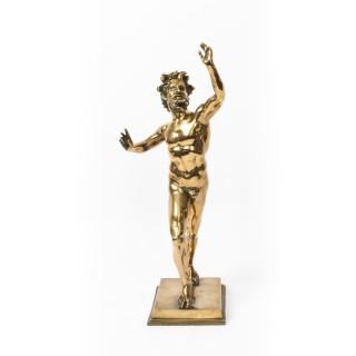 Antique Italian Grand Tour Bronze figure of Dancing Faun of Pompeii 19th C