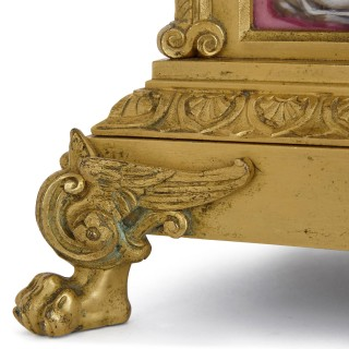 Rococo style gilt bronze and porcelain table clock