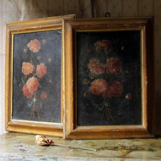 A Pair of 19thC Italian School Oil & Tempura on Canvas Studies of Roses