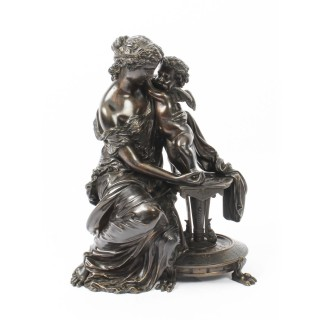 Antique Patinated Bronze by Emile Herbert Woman with Cherub 19th C