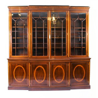 Antique English Flame Mahogany & Inlaid Four Door Breakfront Bookcase 19th C