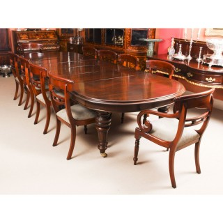 Antique 12ft Victorian D-end Mahogany Dining Table C1870 & 10 chairs