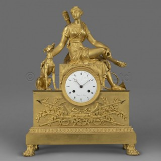 An Empire Period Clock Depicting Diana The Huntress