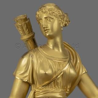 An Empire Period Clock Depicting Diana The Huntress