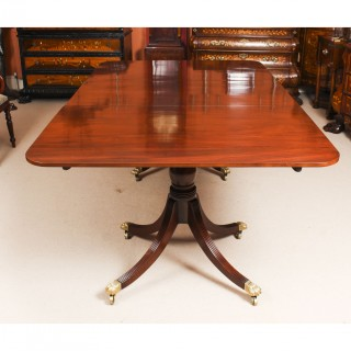 Antique Twin Pillar Regency Dining Table 19th C & 8 bespoke chairs