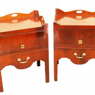 English 18th Century Matched Pair Of Mahogany Bedside Night Tables