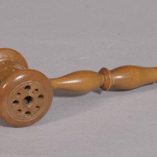 Antique Treen Late Victorian Boxwood Baby's Rattle