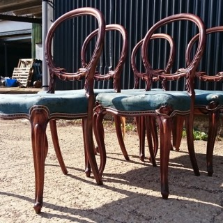 Set of Five Early Victorian Rosewood Dining Chairs