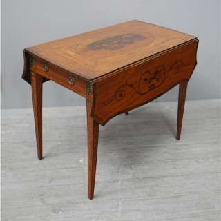 George III Painted Satinwood Pembroke Table