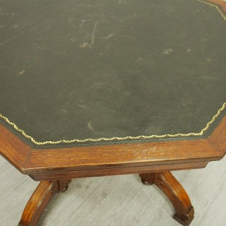 Oak Leather Top Octagonal Table