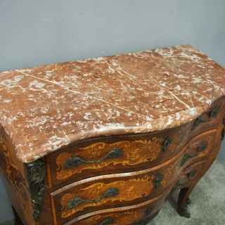 French Kingwood and Tulipwood Marble Top Commode