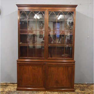 George III Style Mahogany 2 Door Cabinet Bookcase