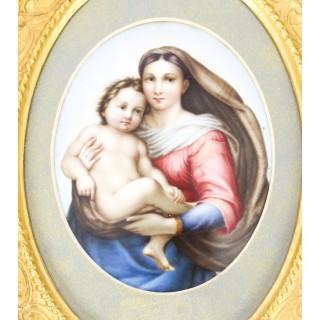 Antique Berlin KPM Plaque of Madonna & Child 19th Century