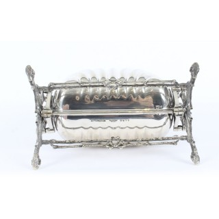 Antique Victorian Silver Plated Shell Folding Biscuit Box by Elkington 19thC