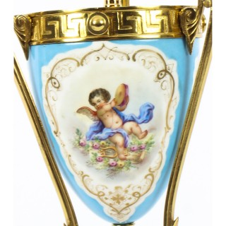 Antique Bleu Celeste Sevres Porcelain Ormolu Lamp c.1870
