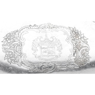 Antique Regency Old Sheffield Silver Plated Tray C 1820 with Cavendo Tutus Crest