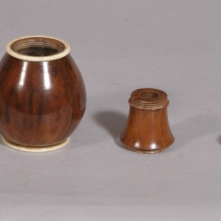 Antique Treen 19th Century Coquilla Nut Spice Flask