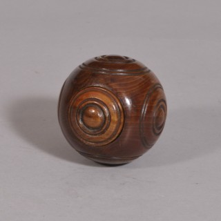 Antique Treen 19th Century Laburnum Puzzle Ball