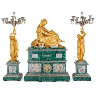 Neoclassical style patinated bronze, ormolu and malachite clock set