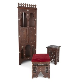 Moorish style mother-of-pearl inlaid hardwood three-piece furniture set