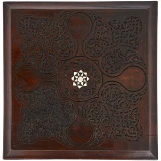 Moorish style mother-of-pearl inlaid hardwood three-piece furniture set