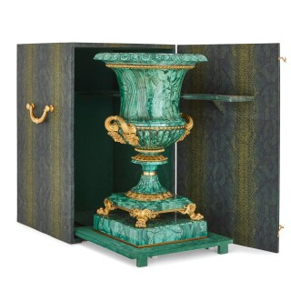 Two Russian malachite and gilt bronze urns, designed by Galberg