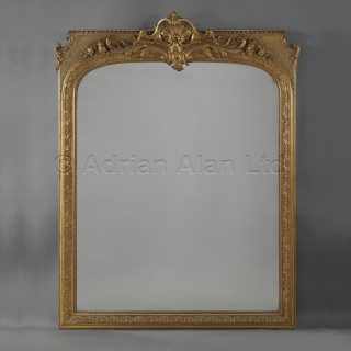 A Large Regence Style Carved Giltwood and Gesso Mirror