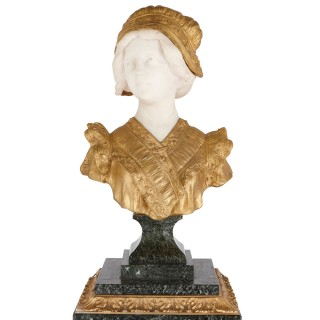 French gilt bronze and marble bust sculpture by Gory