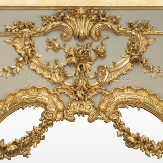 A Louis XV Style Parcel-Gilt And Painted Trumeau Mirror