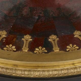 Empire style gilt bronze and gemstone circular table