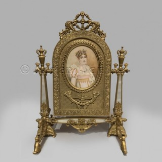 A Palais Royal Gilt-Bronze and Mother of Pearl Toilet Mirror