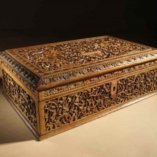 A Oriental Dutch Colonial Very Finely Carved Large Wooden Indonesian Box Circa 1900-1920