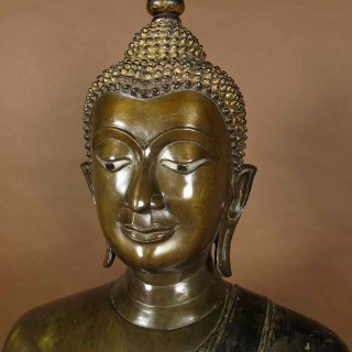 A near life size very decorative and large bronze Buddha, Thailand 19th century