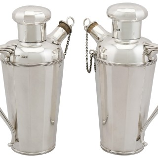 Sterling Silver Cocktail Shakers - Art Deco Style - Antique George V (1930)
