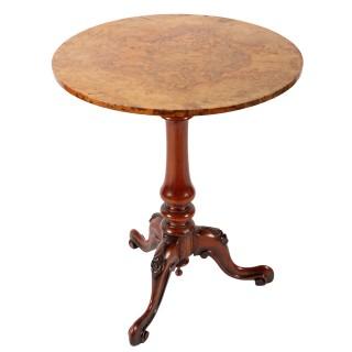 Burr Walnut Top Tripod Table
