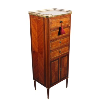 Slim French Kingwood Marble Top Cabinet