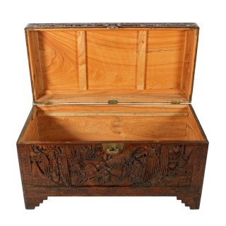 Chinese Carved Camphor Wood Trunk