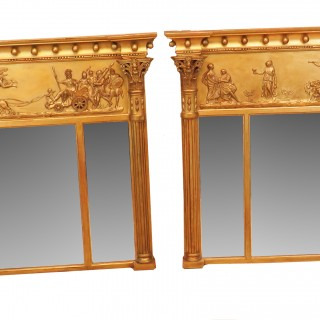 Regency Pair Of Giltwood And Gesso English Overmantle Mirrors