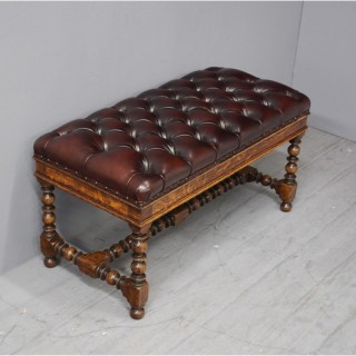 Jacobean Style Burgundy Leather Duet Stool