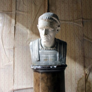 A 19thC Painted Plaster Portrait Bust of Julius Caesar c.1880