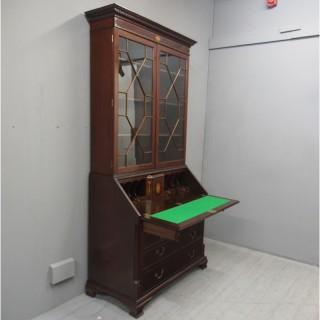 Georgian Style Inlaid Mahogany Bureau Bookcase