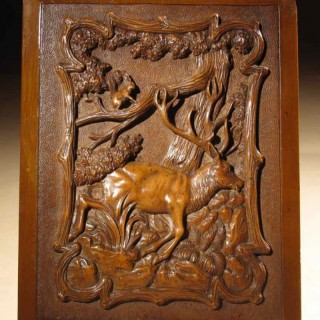 A Black Forest Very Fine Carved Fruitwood Relief Carving