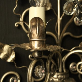 Italian Silver Genoa Twin Arm Wall Lights